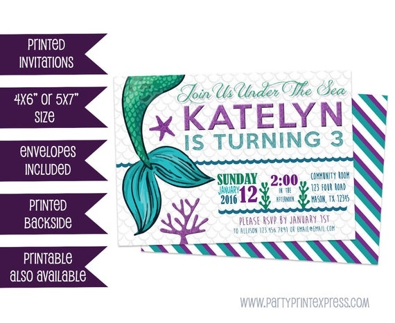 Mermaid invitation mermaid birthday invitations purple mermaid il570xn filmwisefo Gallery