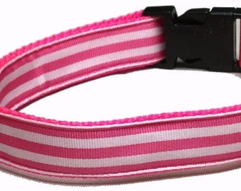 Dog Collar, Stripe - Pink and White