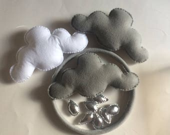 Clouds Mobile,Nursery room decor,Hanging Clouds,Baby Mobile Clouds,Rainbow Felt Clouds,Colors Felt Clouds, White Handmade Clouds,Felt Mobile