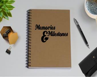 Memories & Milestones Writing Notebook - 5 x 7 Journal, Personal Notebook, Diary, Writing journal, College Memories, Graduation, Milestones