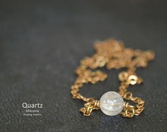 Dainty Quartz Necklace,Quartz Bead Necklace,Dainty Beads Necklace,Quartz Jewelry,Minimalist,Dainty Necklace,Delicate Choker,Tiny Quartz,