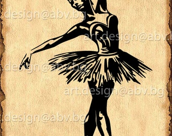 Vector BALLERINA, ai, eps, PNG, pdf, svg, dxf, jpg Image Graphic Digital Download Artwork, figurante, graphical, music