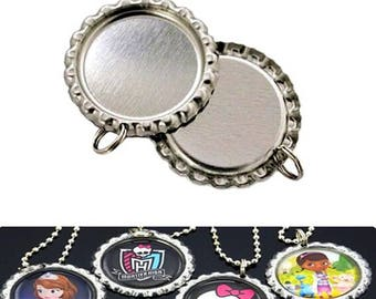 IGOGO 50 Flatted Silver Bottle Cap Pendants with Holes - 8 mm Split Rings Attached