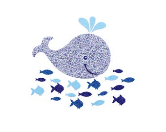 Cute blue whale iron on patch fishes sea marin decor Liberty Fabric Applique Cute Whale Liberty Newland blue and Glittery Fabrics