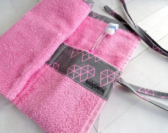 Toiletries Roll for Travel - Pink Terry Cloth with Geometric Diamonds Print