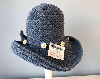 Little Girl Denim and Daisies Knit Brim Hat