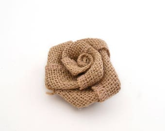 Burlap flower for sewing or craft 6.5 cm