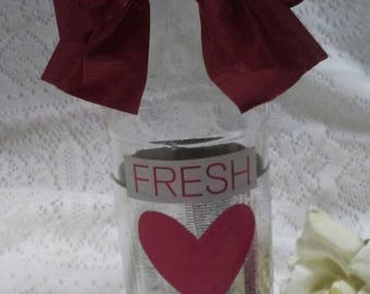 FRESH START new love Display vase Repurposed glass bottle for home decor or floral arrangement rehab 12 step AA support and encourage gift