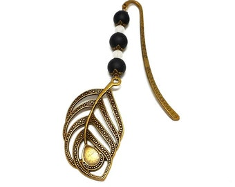 Bookmark bronze jewelry, leaf and black and white beads