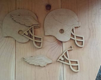 Philadelphia Eagles helmets - unfinished wood cutouts (set of 2)