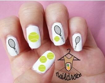 Nail art design etsy 30 tennis nail decals waterslide nail decal prinsesfo Image collections