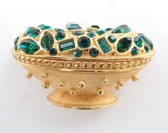 Bowl of Jewels Brooch emerald green rhinestones AB459