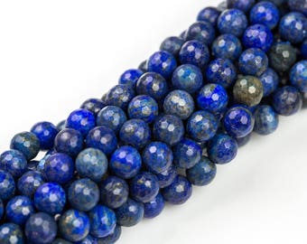Gorgeous Lapis, High Quality in Faceted Round, 4mm, 6mm, 8mm, 10mm- Wholesale Pricing- Full 15.5 Inch Strand
