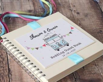 VW Campervan personalised wedding guest book, album, scrapbook or planner.