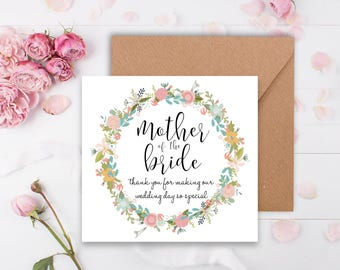 Fiori Garland Mother of the Bride Wedding Thank You Card - Handmade with Vintage Floral Print with Rustic Kraft Envelope