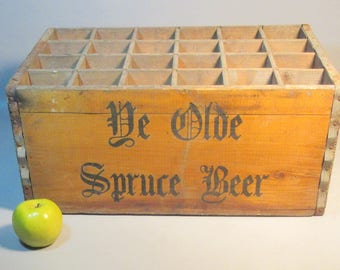 c1910 Ye Olde Spruce Beer Wood Box w/24 Sections For Bottles 2 Side Handles