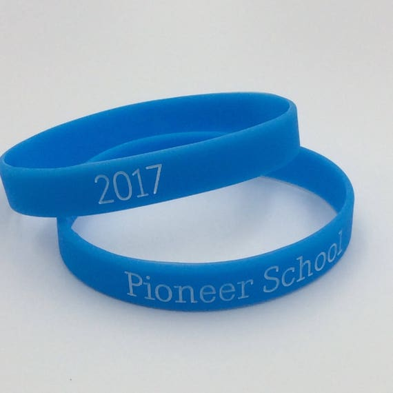 Pioneer School 2017 Silicone Wristband in Blue or Black, Great for pioneer School Gifts!