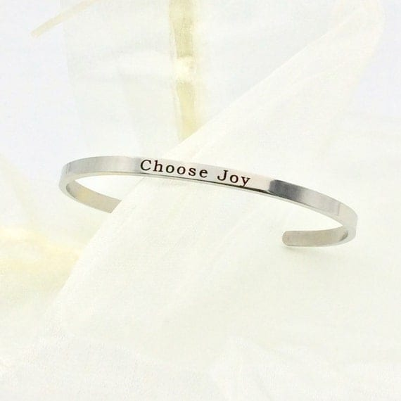 "Stainless Steel ""Choose Joy"" Bangle Bracelet with Blue Monkey Gift Box"