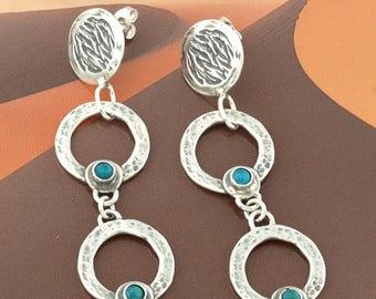 Turquoise  Earrings, Drop Silver Earrings, Turquoise Double Disc Earrings, Abstract Silver Earrings,