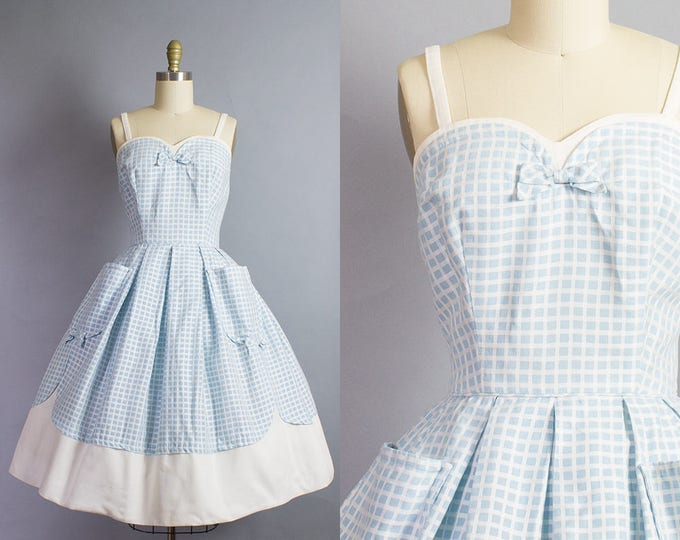 1950s Windowpane Check Dress/ Small (34B/26W)