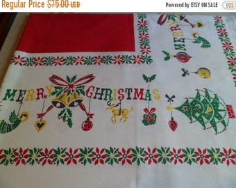 "3 Day SALE Vintage Mid Century Christmas Tablecloth 63"" x 52"" Bright Primary Colors Angels/Shiny Brites/Reindeer/Tree ""Merry Christmas"""