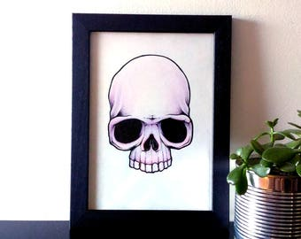ORIGINAL . Skull . Pink . Illustration . Drawing