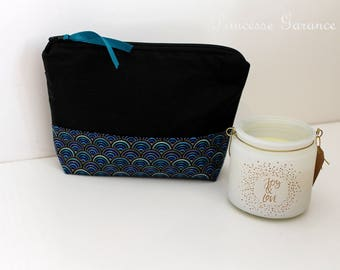 Birthday, moms * clutch makeup, travel, girl treasures, cotton black, cotton blue waves - custom