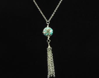 """Tassel necklace with blue pendant you select length 28""""to 40"""" long chain necklace , stainless steel chain tassel necklace, unique"""