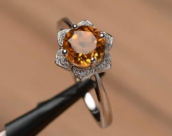 natural citrine ring wedding engagement ring sterling silver round cut yellow gemstone ring November birthstone ring sunflower ring