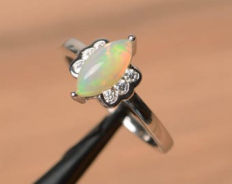 natural white opal ring wedding ring October birthstone marquise cut gemstone sterling silver ring