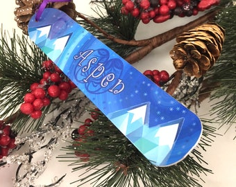 Snowflake Snowboard Ornament, Custom Personalized , Holiday Decoration, Teenager Gift, Winter Vacation Memory