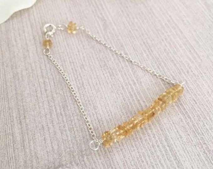 Featured listing image: Dainty Citrine Sterling Silver Bar Bracelet, Healing Crystals Bracelet, Heishi Beaded Bracelet, Bar Bracelets, Gift Ideas for Her