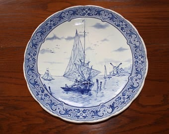 Vintage  Boch Belgium Delfts Blue Charger or Platter with Ships and Windmill