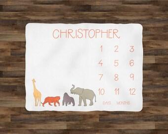 Milestone Blanket Boy | Baby Milestone Blanket | Baby Shower Gift | Baby Blanket | Baby Monthly Blanket