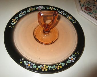 GLASS SERVING TRAY with Handle