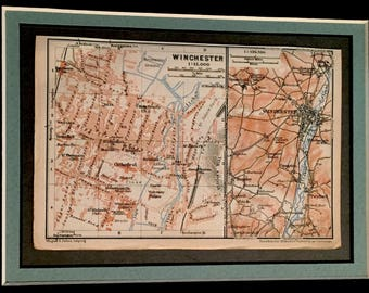 Vintage 1927 map of Winchester, UK. Double-sided of Winchester Cathedral. Great gift idea!
