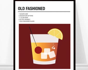 Old Fashioned Cocktail Print, Vintage Cocktail Print, Cocktail Recipe Art, Alcohol Print