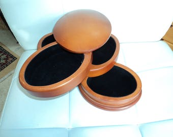 Vintage Unique Oval Solid Wood Cantilevered Four Layer Covered Jewelry Box