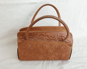 70's TOOLED LEATHER PURSE // Vintage 1970's Purse Tooled Leather Purse Boho Purse Leatherwork Handcrafted Hand Tooled Leather Handbag