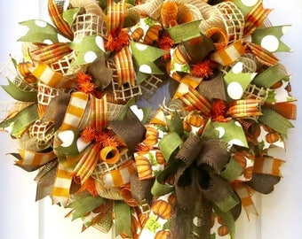 Fall Wreath, Fall deco mesh wreath, Autumn Wreath, Fall Wreaths for Front Door,  Door Wreath, Fall Decoration, Autumn, Thanksgiving Wreath