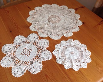 Vintage crocheted doilies.