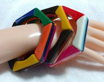 3 pc. Yellow,Orange,Red,Pink,Green,Blue, Lucite''Layered Tiles''Stretch Bracelet