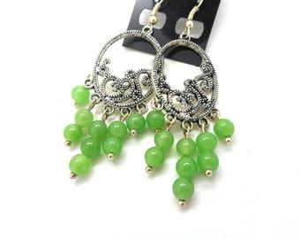 Silver chandelier jade beads