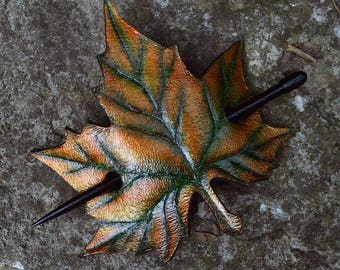 Maple Leaf Barrette - Leather Barrette - Barrette with Stick - Hair barrette - Brown/Gold/Copper barrette - Leaf