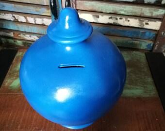 Dark Blue Money Pot, Greek Money Pot, Ceramic Money Box, Bulbous Money Pot, Savings Jar