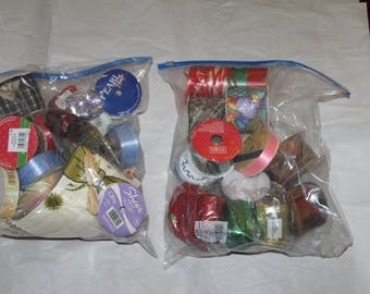 Sale 40 Items in This Lot of Ribbon and Edging, Fabric, Curling Ribbon, a Lot of Colors, Shapes and Sizes, Some Opened, Some Unopened,