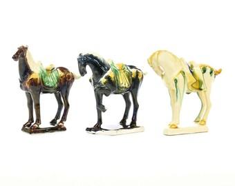 Vintage Set Of 3 Tang Dynasty Chinese War Horses - FREE SHIPPING