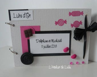 Personalized wedding guest book and original on greed