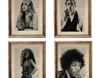 Set of 4 Prints: Stevie Nicks, Jimi Hendrix, Johnny Cash, Janis Joplin, Art Print on Vintage Dictionary Page, Upcycled Book 8 x 10 inches