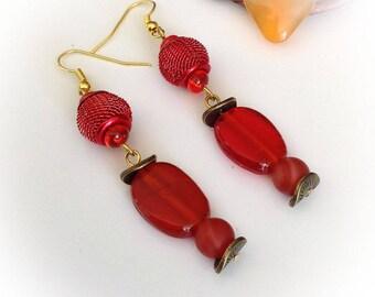 Earrings, long, Orange, Puck, gem stone beads.